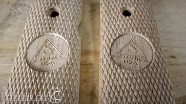 Detonics bamboo grips custom engraved1