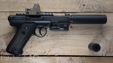 KJ ruger MK1 MKIV 3D printed custom upper silenced surefire XC1 trijicon RMR2