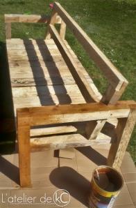 Canapé palette jardin recup DIY bois lasure1