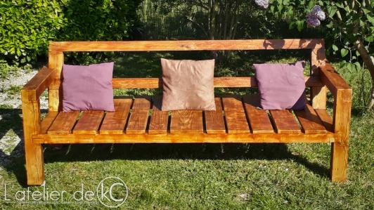 Canapé palette jardin recup DIY bois sofa bench wood pallet garden 0