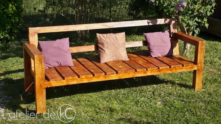 Canapé palette jardin recup DIY bois sofa bench wood pallet garden