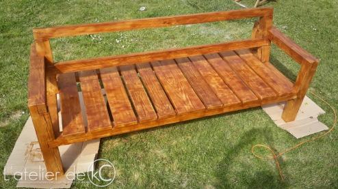 Canapé palette jardin recup DIY bois sofa bench wood pallet garden1